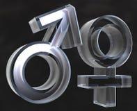 Mannelijke en vrouwelijke 3D geslachtssymbolen Stock Foto