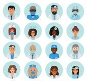 Mannelijke en vrouwelijke avatars van het artsenteam royalty-vrije illustratie