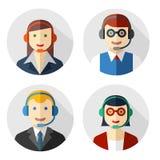 Mannelijke en vrouwelijke call centreavatars Stock Foto's
