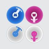 Mannelijke en vrouwelijke geplaatste geslachtssymbolen Royalty-vrije Stock Foto's