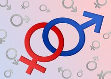 Mannelijke en vrouwelijke geslachtssymbolen Royalty-vrije Stock Foto's