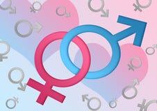 Mannelijke en vrouwelijke geslachtssymbolen Stock Afbeelding
