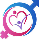 Mannelijke en vrouwelijke geslachtssymbolen op kleurenachtergrond Royalty-vrije Stock Afbeelding