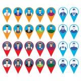 Mannelijke en vrouwelijke gezichtenpictogrammen met GPS-tekenplaats Royalty-vrije Stock Afbeeldingen