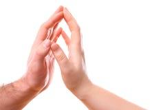 Mannelijke en vrouwelijke handen stock foto