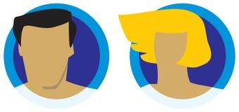 Mannelijke en vrouwelijke hoofdenpictogrammen Stock Afbeeldingen