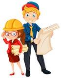 Mannelijke en vrouwelijke ingenieur met blauwdruk vector illustratie
