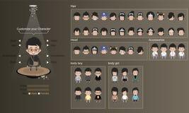 Mannelijke en vrouwelijke karakters met kleren, kapsels en toebehoren karakterontwerp - vectorillustratie stock afbeelding