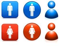 Mannelijke en vrouwelijke pictogrammen Royalty-vrije Stock Afbeeldingen