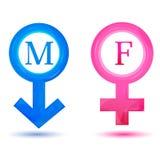 Mannelijke en vrouwelijke pictogrammen Stock Foto's