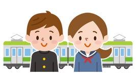 Mannelijke en vrouwelijke studenten en treinen stock illustratie