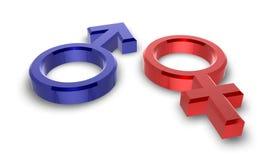 Mannelijke en vrouwelijke symbolen Stock Afbeelding
