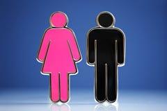 Mannelijke en vrouwelijke symbolen Stock Foto