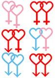 Mannelijke en Vrouwelijke Symbolen Royalty-vrije Stock Afbeeldingen