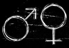 Mannelijke en vrouwelijke symbolen. Stock Afbeelding
