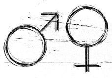 Mannelijke en vrouwelijke symbolen. Stock Fotografie