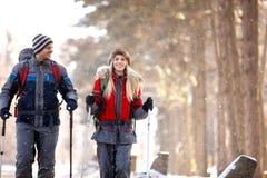 Mannelijke en vrouwelijke wandelaars die in sneeuwaard lopen Stock Afbeelding