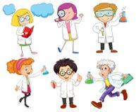Mannelijke en vrouwelijke wetenschappers Stock Foto