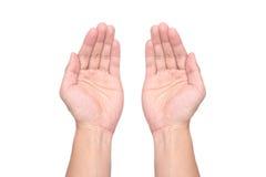 Mannelijke geïsoleerd handenpalmen gehouden onderworpen Royalty-vrije Stock Afbeelding