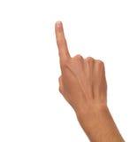 Mannelijke hand die - één vinger tellen Stock Foto's