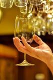 Mannelijke Hand die een Glas Rode Wijn houden Royalty-vrije Stock Afbeelding