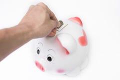 Mannelijke hand die een muntstuk zetten in spaarvarken geen witte achtergrond Stock Afbeeldingen