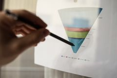 Mannelijke hand die op een gekleurde die trechtergrafiek richten op een wit blad van document tijdens een commerciële vergadering Royalty-vrije Stock Afbeeldingen