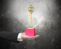 Mannelijke hand die rood blok met gouden pond Sterling houden Stock Foto