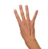 Mannelijke hand die - vier vingers tellen Royalty-vrije Stock Afbeeldingen