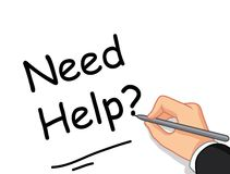 Mannelijke hand het schrijven Behoeftehulp? voor u ontwerp Stock Afbeelding