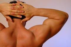 Mannelijke handen achter hoofd Royalty-vrije Stock Fotografie