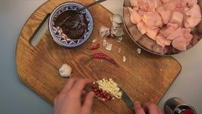 Mannelijke handen die kip met kerrie, Spaanse peperpeper, knoflook en sojasaus voorbereiden stock videobeelden