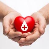 Mannelijke handen die rood hart met donorteken houden stock fotografie