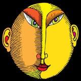 Mannelijke hoofd de kleurenhoutdruk van Japan Stock Foto