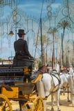 Mannelijke koetsier in hoge zijden in Jerez Feria 2017 royalty-vrije stock foto