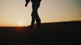 Mannelijke landbouwer die in rubberlaarzen door gecultiveerd landbouwgebied lopen stock videobeelden