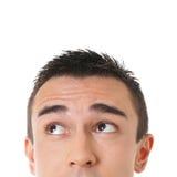 Mannelijke ogen die omhoog eruit zien stock fotografie