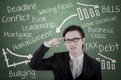 Mannelijke ondernemer het denken oplossingen Royalty-vrije Stock Foto