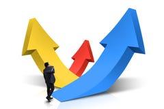 Mannelijke ondernemersgangen naar het toenemen pijlen Royalty-vrije Stock Fotografie