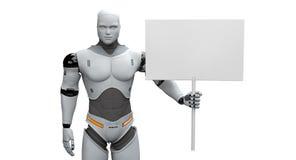 Mannelijke Robot met Klein Gekregen Leeg Teken stock illustratie