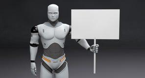 Mannelijke Robot met Klein Gekregen Leeg Teken op Donkere Achtergrond royalty-vrije illustratie