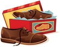 Mannelijke schoenen en shoebox Stock Foto