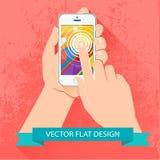 Mannelijke smartphone van de handholding. Vector vlak ontwerp. Stock Foto