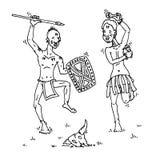 Mannelijke stammendansers Royalty-vrije Stock Afbeeldingen