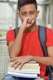 Mannelijke Student Coughing With Notebooks royalty-vrije stock foto