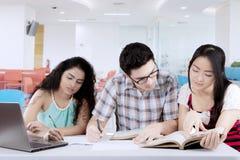 Mannelijke student die met zijn vrienden bestuderen stock foto's
