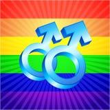 Mannelijke symbolen op gloeiende regenboogachtergrond Royalty-vrije Stock Afbeelding