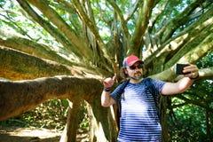 Mannelijke toerist die foto van zich nemen dichtbij reuze banyan boom op Hawaï royalty-vrije stock afbeeldingen