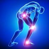 Mannelijke verbindingenpijn in blauw Stock Fotografie