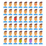 Mannelijke Verschillende de Emotie Vastgestelde Avatar van het profielpictogram, de Inzameling van het het Portretgezicht van het vector illustratie